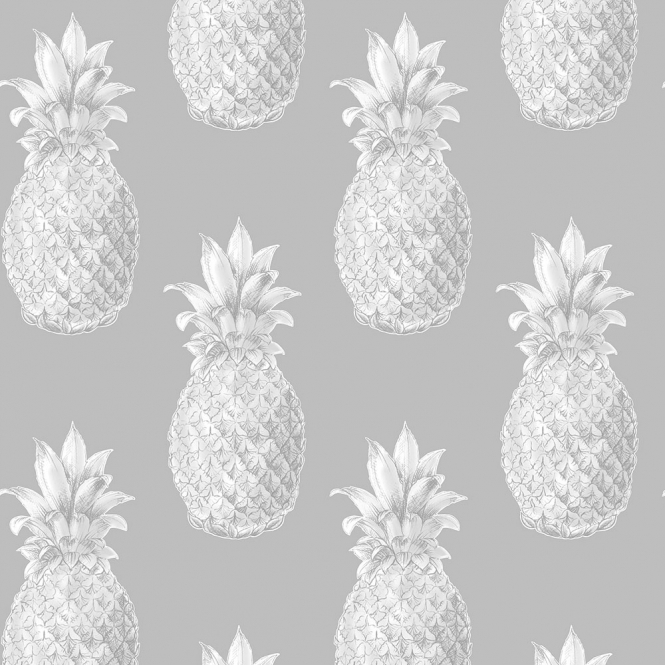Lucie Annabel Pineapples Motif Wallpaper Grey