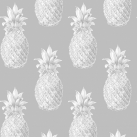 Pineapples Motif Wallpaper Grey