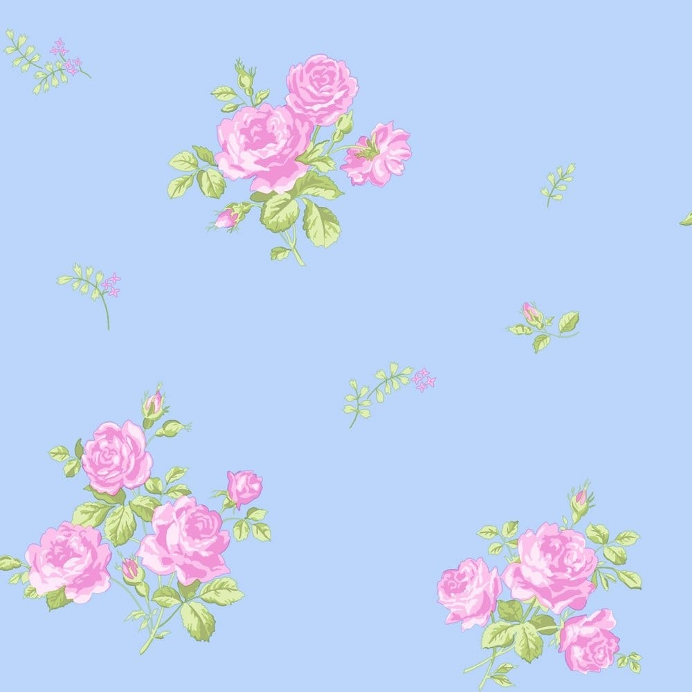 Coloroll Pippa Floral Wallpaper Sky Blue / Pink (M0726