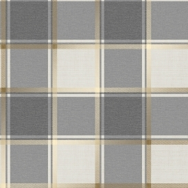 Plaid Check Patterned Wallpaper Charcoal, Gold