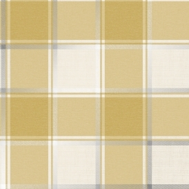 Plaid Check Patterned Wallpaper Mustard, Silver