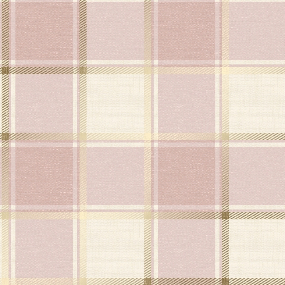 Plaid Check Patterned Wallpaper Pink Gold Wallpaper
