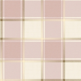Plaid Check Patterned Wallpaper Pink, Gold