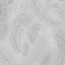 Plume Feather Wallpaper Grey Silver