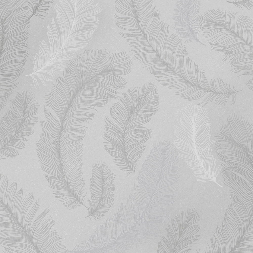 I Love Wallpaper Plume Feather Wallpaper Grey Silver