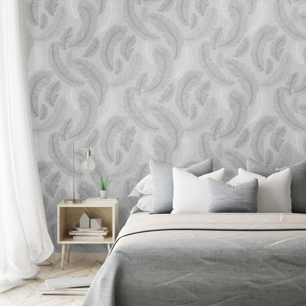 Plume Feather Wallpaper Grey Silver Wallpaper From I Love Wallpaper Uk