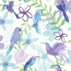 Polly Parrot Wallpaper Purple