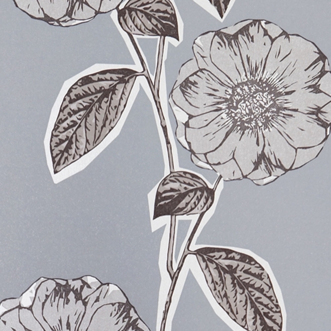 Jocelyn Warner Poppy Hand Screen Printed Floral Wallpaper Dove (JWP-1005)