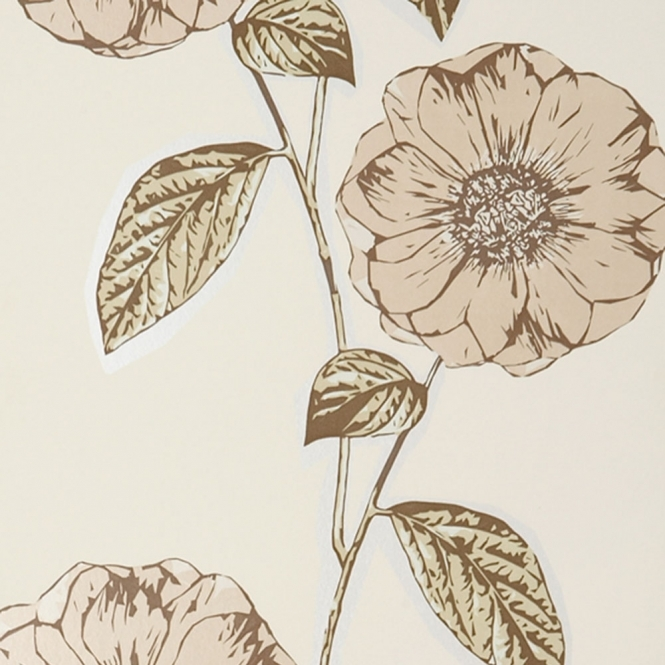 Jocelyn Warner Poppy Hand Screen Printed Floral Wallpaper Parchment (JWP-1001)