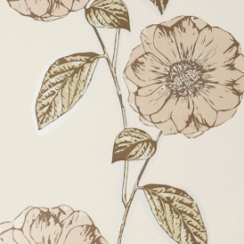 Poppy Hand Screen Printed Floral Wallpaper Parchment
