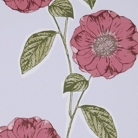 Poppy Hand Screen Printed Floral Wallpaper Viola