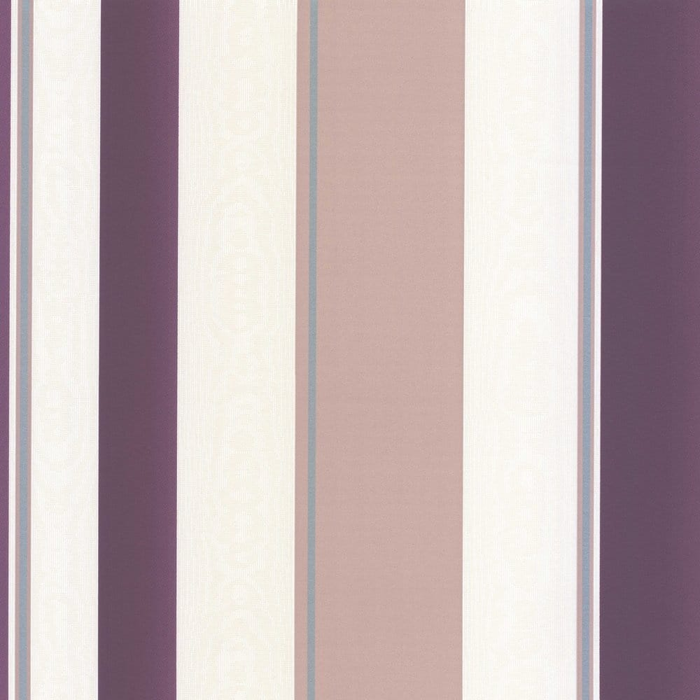 Erismann Poppy Striped Wallpaper Purple Cream Taupe