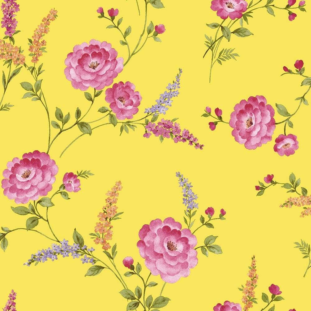 Posie Designer Wallpaper Buttercup Yellow 950807 Wallpaper