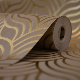Precious Silks Art Deco Wallpaper Beige / Gold (601534)