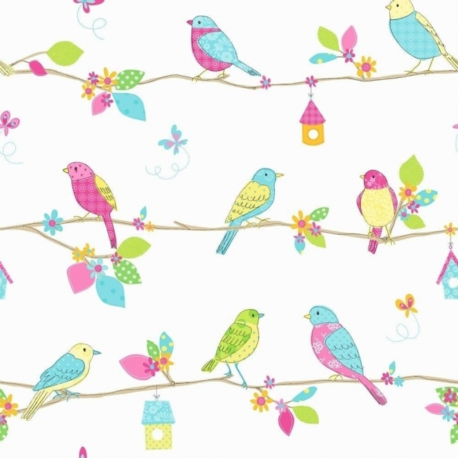 Fine Decor: Hoopla Pretty Birds Hoopla Wallpaper Blue, White (DL30702)