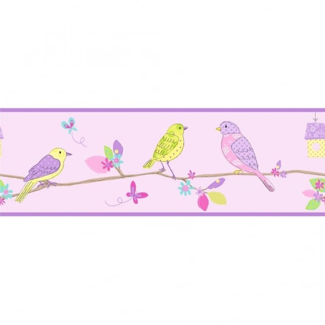Fine Decor: Hoopla Pretty Birds Hoopla Wallpaper Border Lilac (DLB07522)