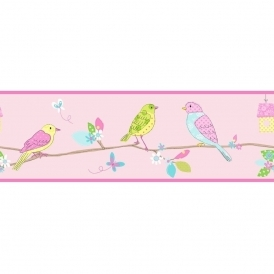 Pretty Birds Hoopla Wallpaper Border Pink (DLB07521)