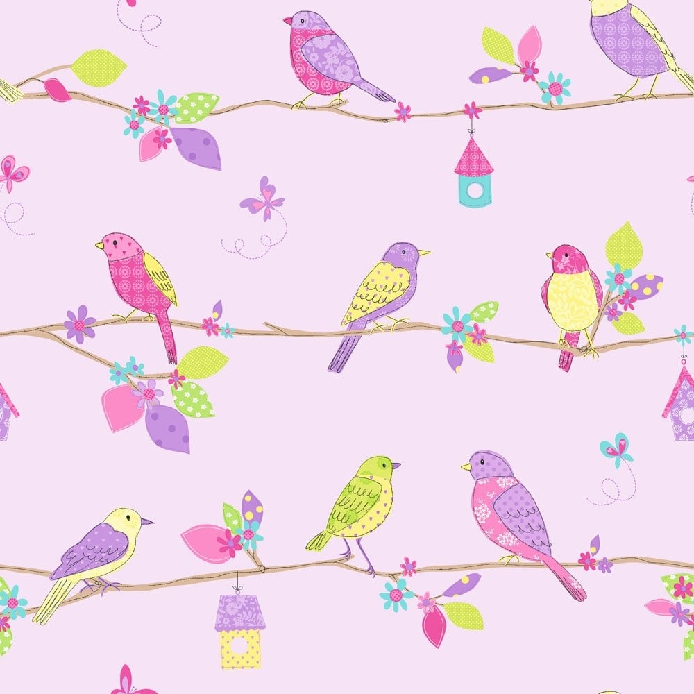 Buy Fine Decor Pretty Birds Hoopla Wallpaper Lilac