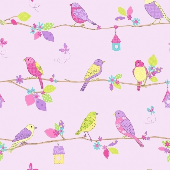 Fine Decor: Hoopla Pretty Birds Hoopla Wallpaper Lilac (DL30701)