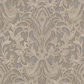 PrimaDonna Damask Wallpaper Beige Grey Gold