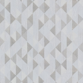 Prism Ethan Triangle Wallpaper Silver Grey