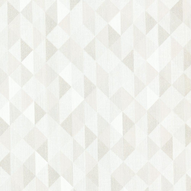 Decorline Prism Ethan Triangle Wallpaper White / Taupe (DL20934)