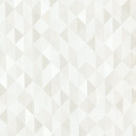 Prism Ethan Triangle Wallpaper White / Taupe (DL20934)
