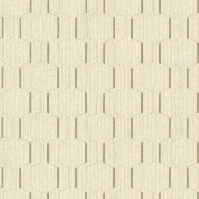 Decorline Prism Harrison Rectangular Geo Wallpaper Cream / Gold (DL20924)