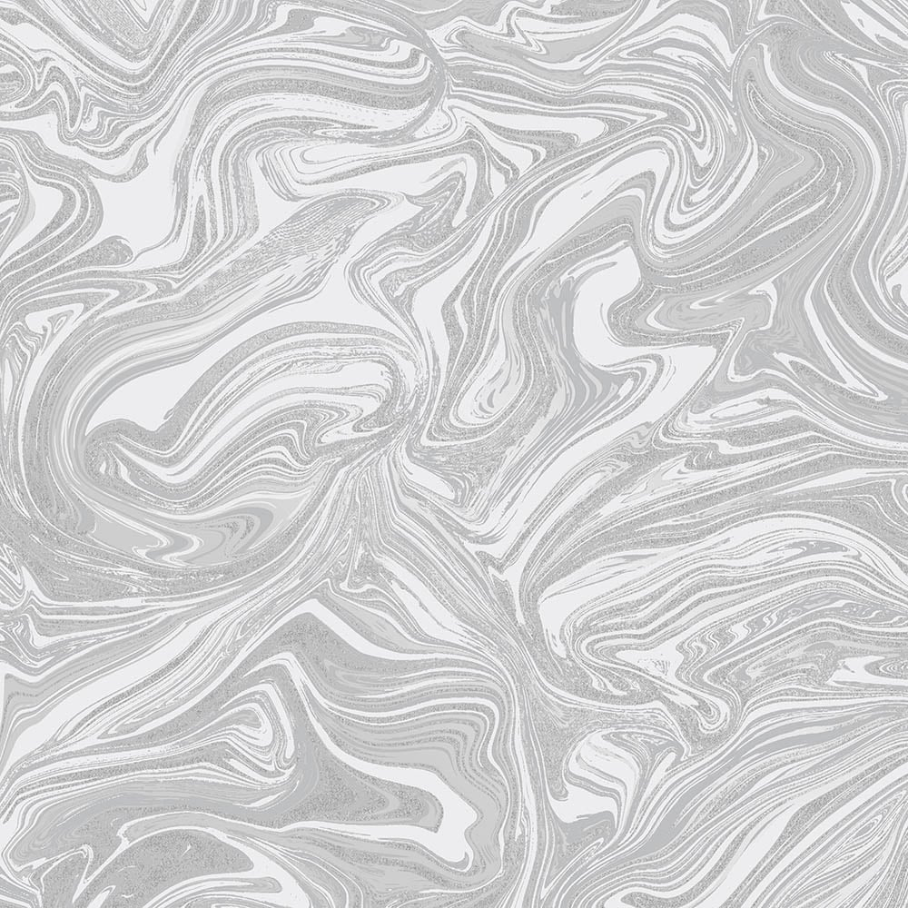Prosecco Sparkle Marble Wallpaper White Silver
