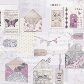 PS I Love You Letter Wallpaper Lilac (671201)