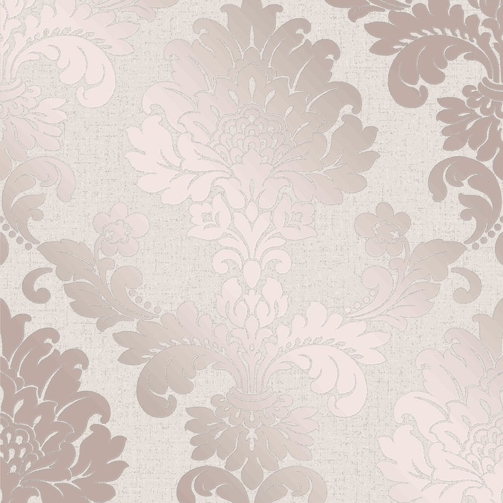 Fine Decor Quartz Damask Wallpaper Rose Gold Fd42204