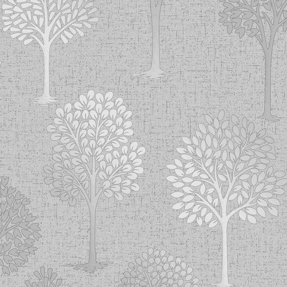 Fine Decor Quartz Tree Wallpaper Silver Fd42200