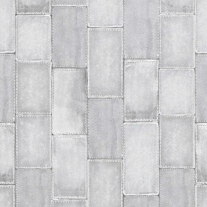 Rasch Stitched Patchwork Effect Tile Wallpaper Grey (475814)