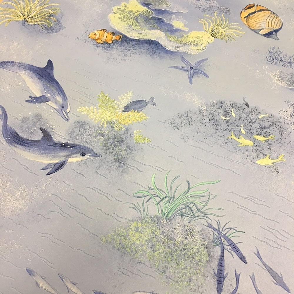 Under The Sea Bathroom Wallpaper Blue (875706)