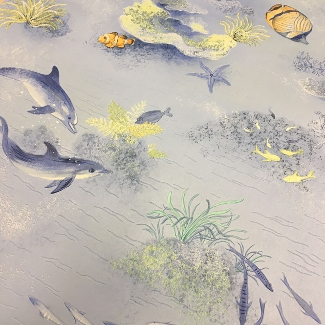 Rasch Under The Sea Bathroom Wallpaper Blue (875706)