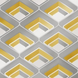 Retro Geometric 3D Effect Wallpaper Mustard Grey