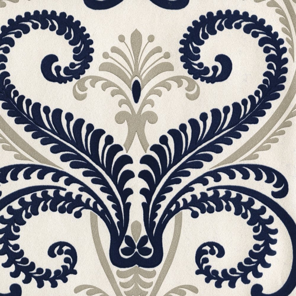 Belgravia decor rhapsody concerto flock blue cream 41314 wallpaper from i love wallpaper uk - Cream flock wallpaper ...