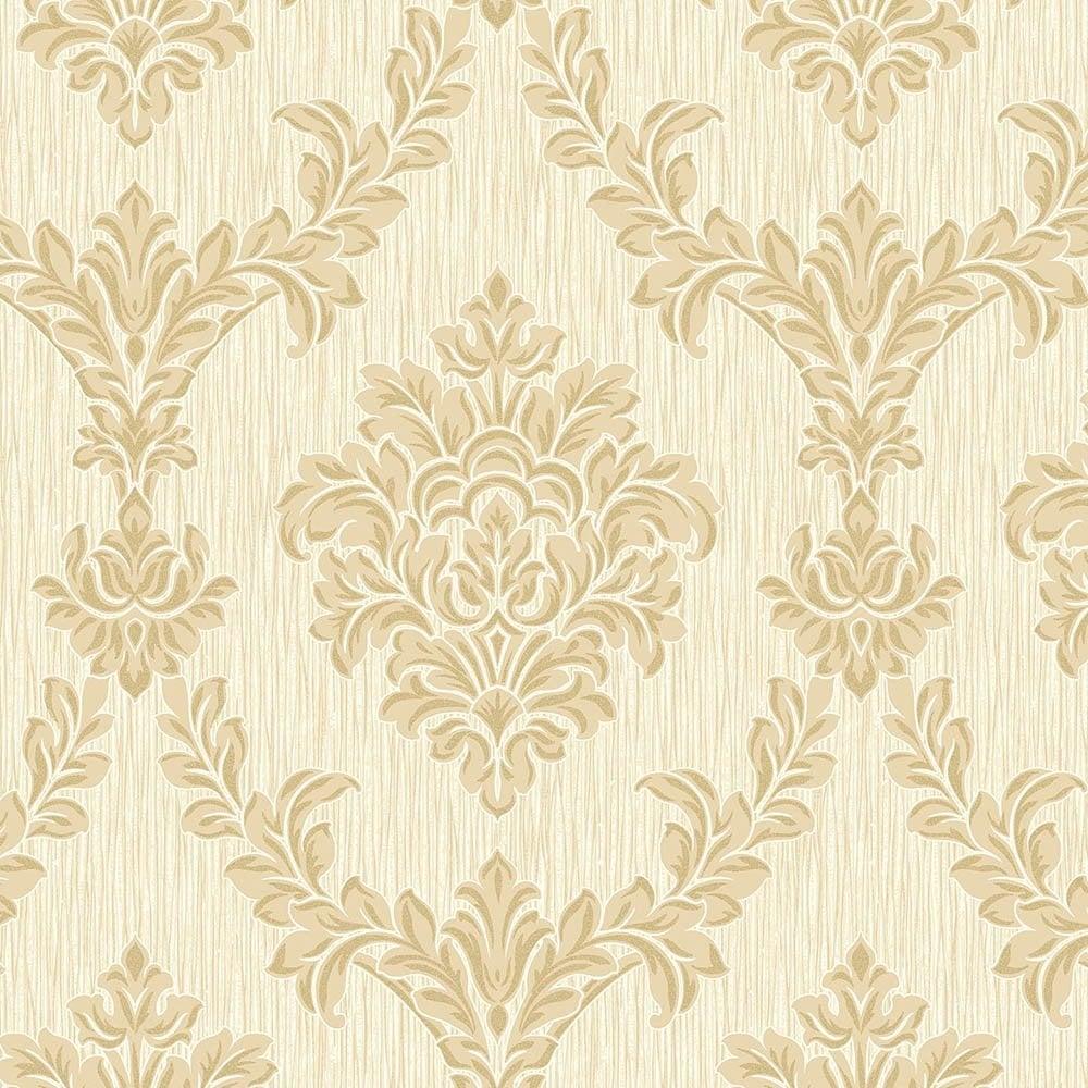 Fine decor richmond damask textured glitter wallpaper soft for Black white damask wallpaper mural