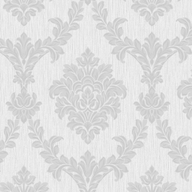 Richmond Damask Textured Glitter Wallpaper Soft Grey Silver