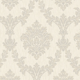 Richmond Damask Textured Glitter Wallpaper Taupe Silver