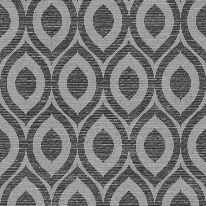 Crown Rimini Geometric Wallpaper Black, Silver (M1161)