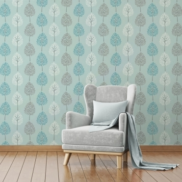 Riva Tree Wallpaper Teal / Blue (FD41593)