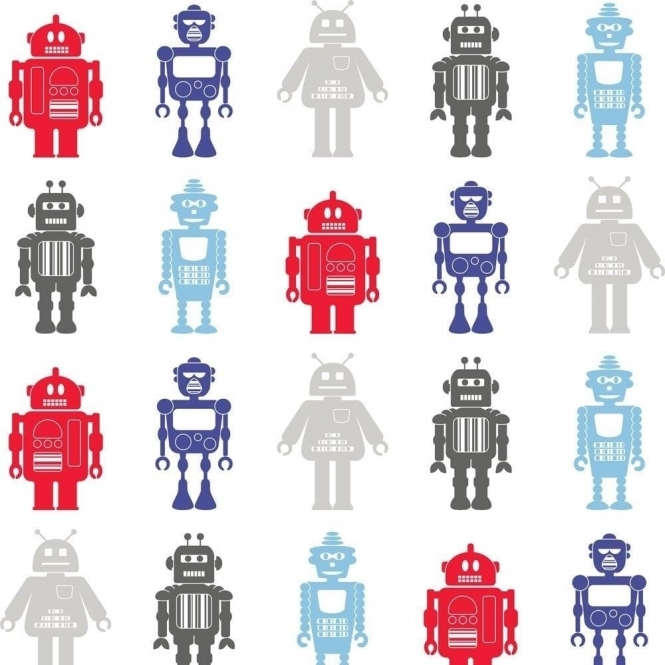 Fine Decor: Hoopla Robots Wallpaper White / Blue / Red (DL30722)