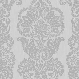 Rochester Damask Textured Glitter Wallpaper Grey Silver