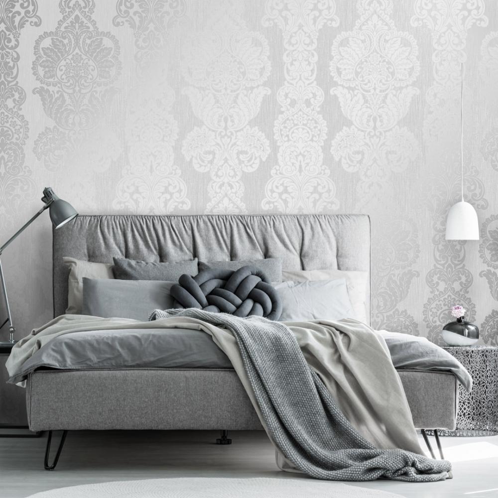 Rochester Damask Textured Glitter Wallpaper Grey Silver