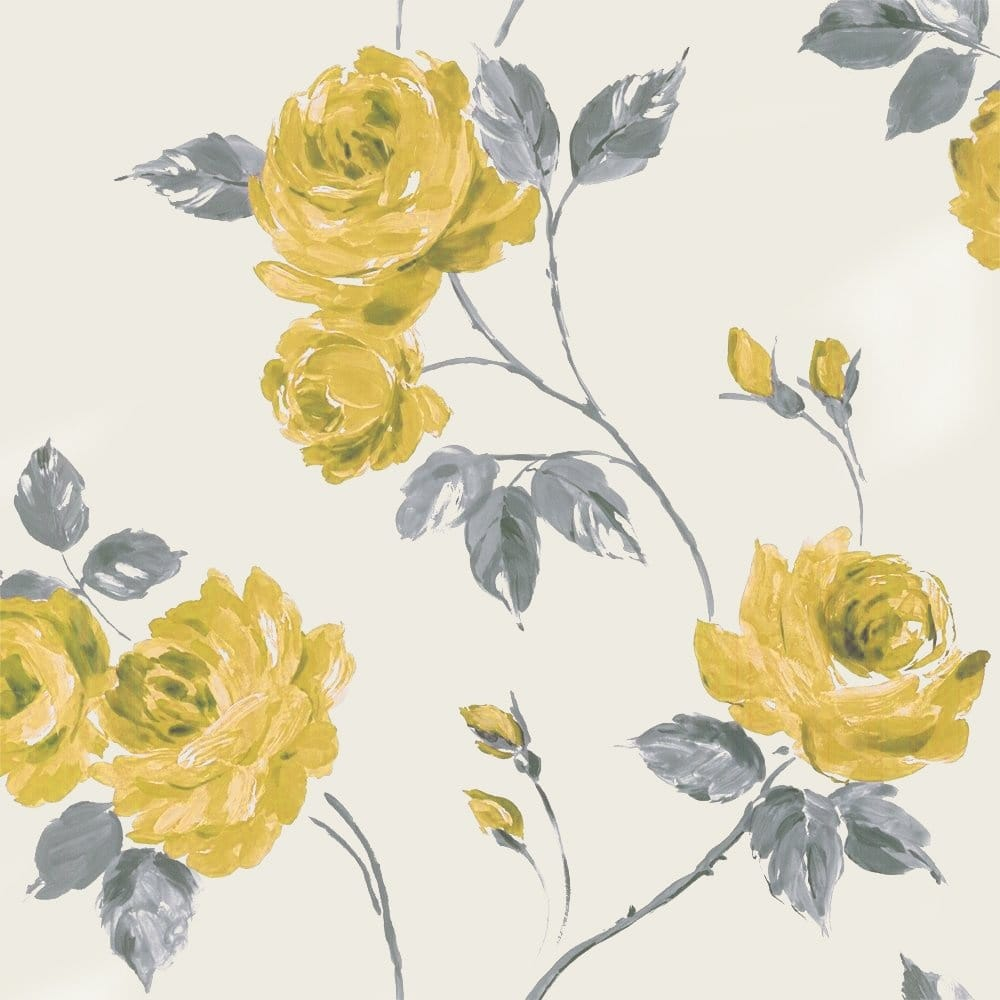 Designer selection romance shabby chic floral wallpaper yellow grey 01429roy wallpaper - Gray and yellow wallpaper ...