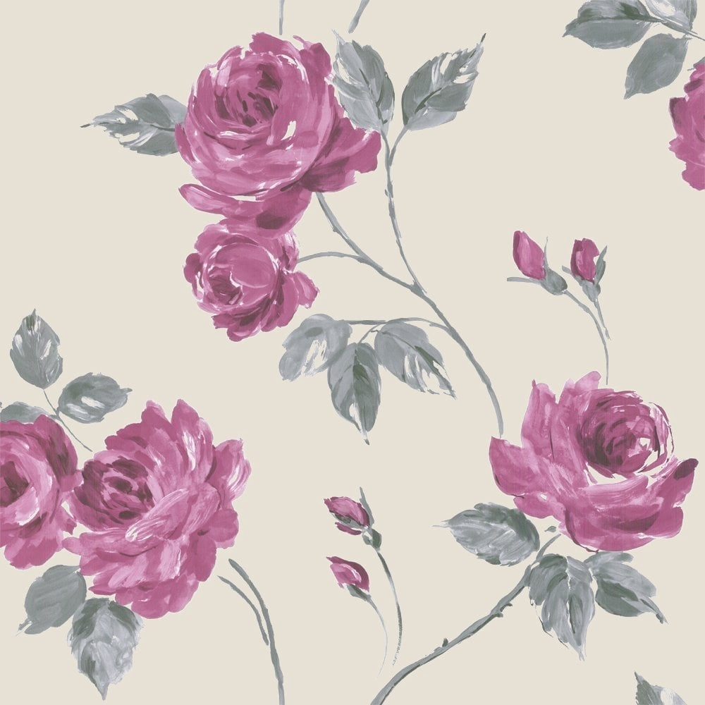 Designer selection romance wallpaper pink cream grey for Pink and grey wallpaper