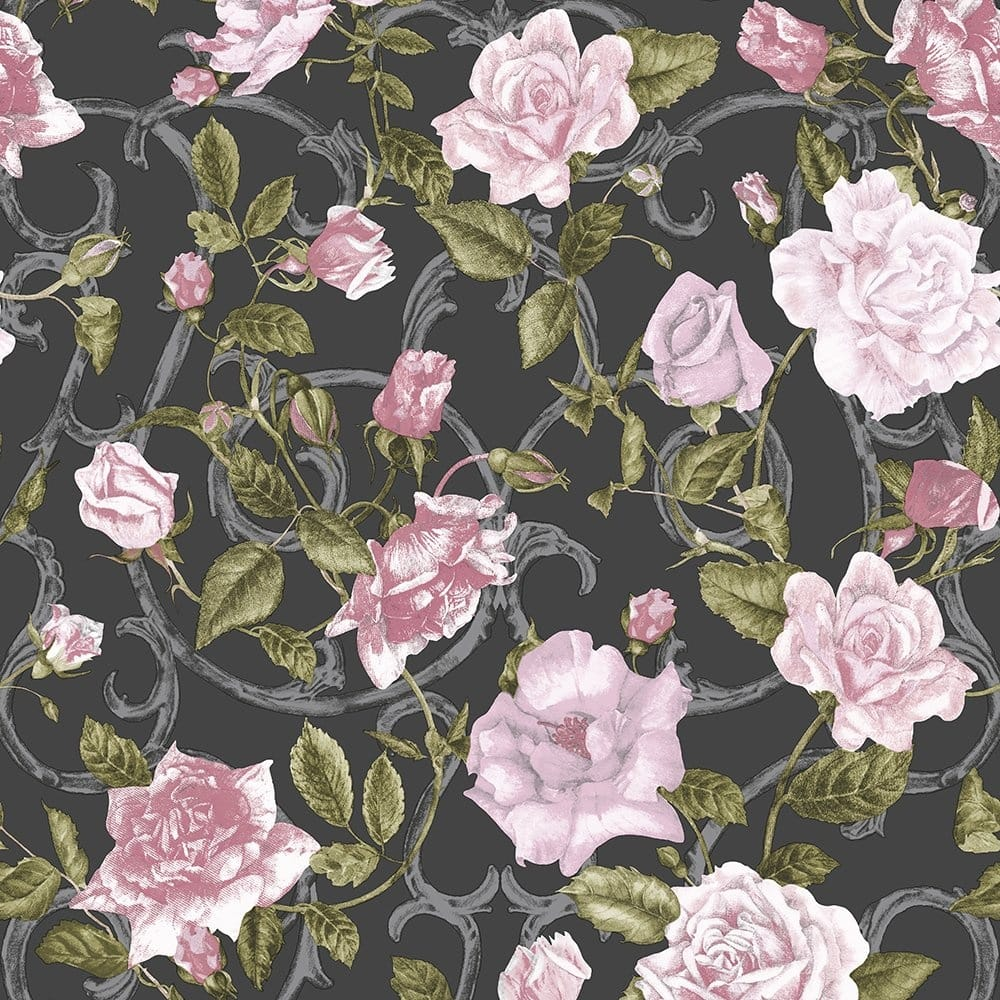 Wallpaper Black Pink: Muriva Rose Trellis Floral Wallpaper Black / Pink (135501