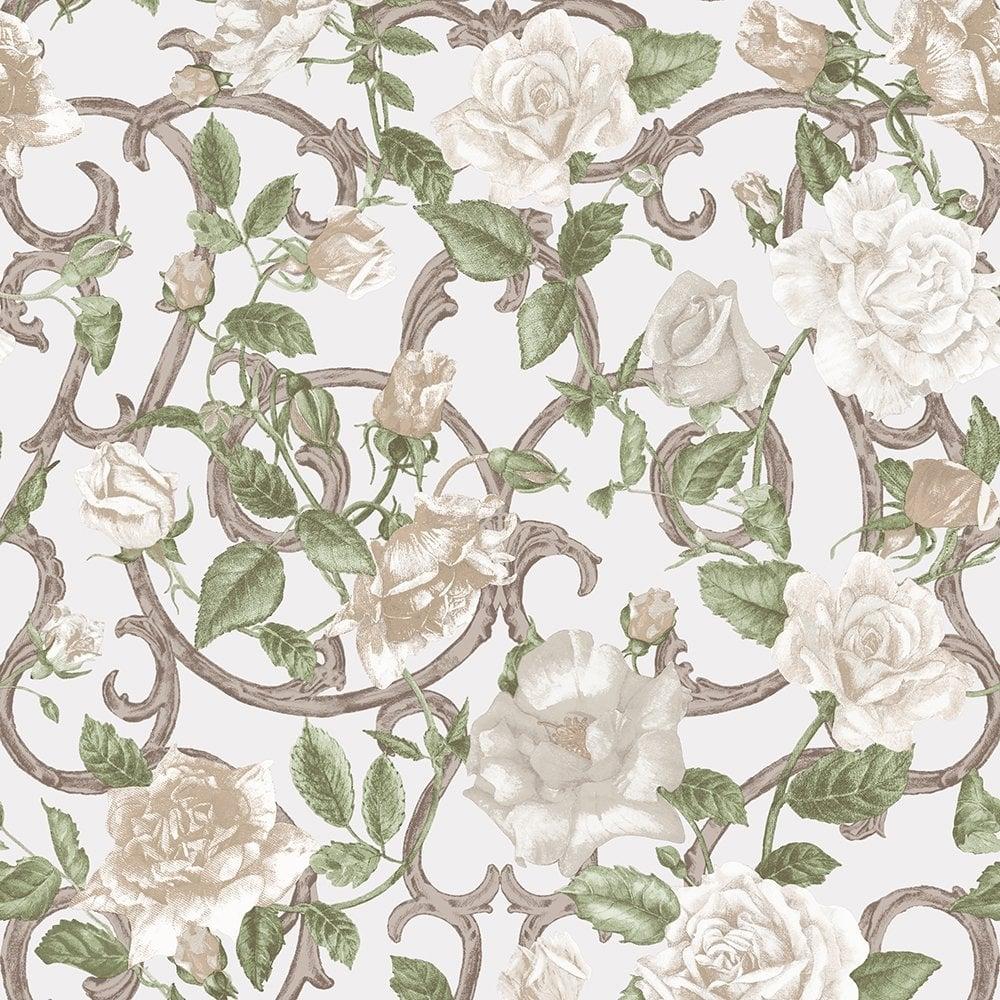 muriva rose trellis floral wallpaper cream ivory 135502. Black Bedroom Furniture Sets. Home Design Ideas