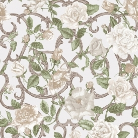 Rose Trellis Floral Wallpaper Cream / Ivory (135502)